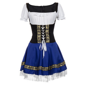 Image 3 - Sexy Blue Bavarian Oktoberfest Ladies Wench Waitress Serving Maid Costume S 3XL Beer Girl Fancy Dress