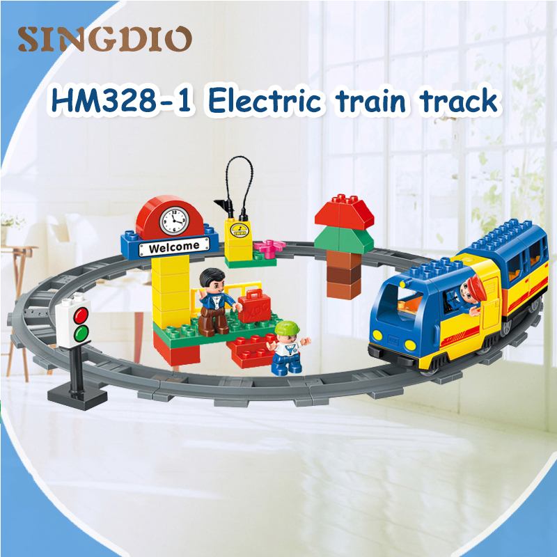 SINGDIO 59pcs Train building blocks DIY Enlighten Baby toys self-locking bricks educational toys for kids compatible with Duplo цены онлайн