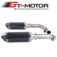 GT Motor Motorcycle Exhaust middle pipe + Muffler for YAMAHA R1 2009 2014 Slip On