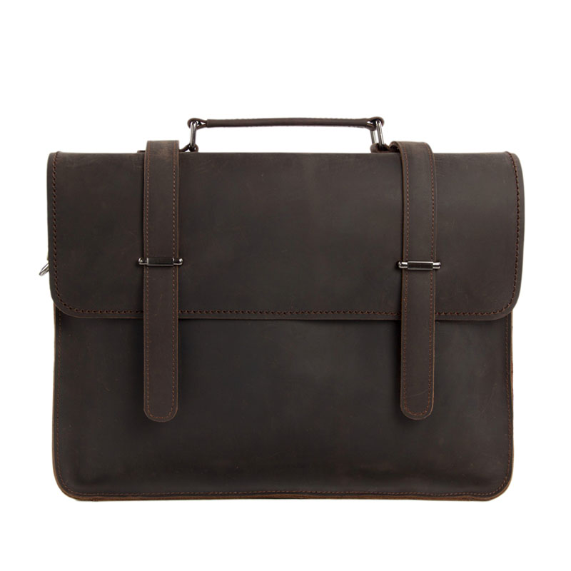ROCKCOW Vintage Crazy Horse Leather Briefcase Hombres Messenger Bag Laptop Bag 6148