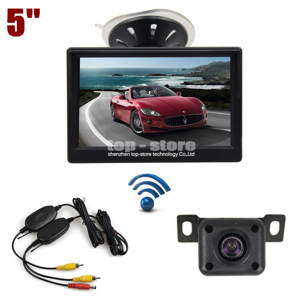 ФОТО DIYKIT 5 inch LCD Display Rear View Car Monitor + IR Night Vision Car Camera Wireless Parking Security System Kit
