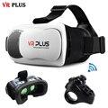 """VR 3.0 Виртуальной Реальности Смартфон VR Плюс 3D Очки покрытие Остекленная vrbox Google Картон Для 4-6 """"телефон + Кольцо пульт дистанционного управления"""
