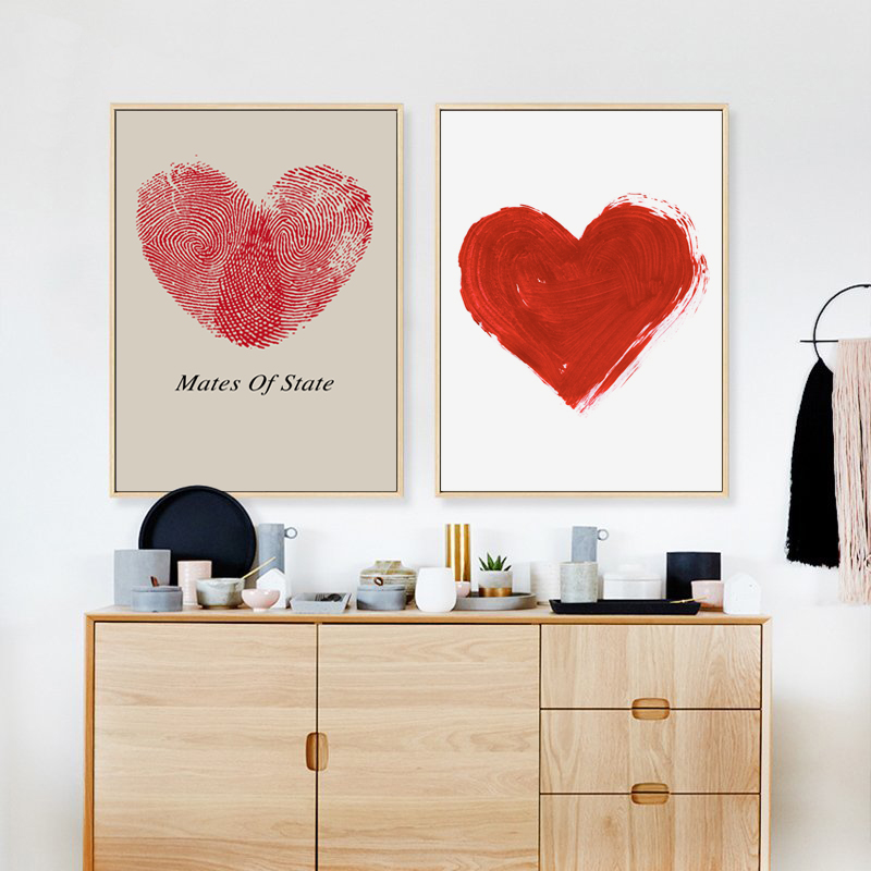 Modern Simple Abstract Red Fingerprint Heart A2 A3 A4 Canvas Painting Art Print Poster Picture Wall Bedroom Office Home Decor