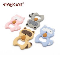 TYRY.HU BPA Free 4Pcs Raccoon Shaped Silicone Teether Lovely Necklace Pendant Food Grade Material Baby Teething Chewed Toys
