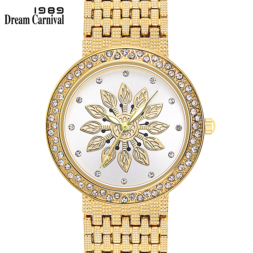 Dreamcarnival 1989 New Quartz Watch For Women Luxury Flower Patten Dial Crystals On Crown Alloy Band IP Rhodium Gold Color A8364