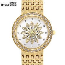 Dreamcarnival 1989 New Quartz Watch for Women Luxury Flower Patten Dial Crystals on Crown Alloy Band IP Rhodium Gold Color A8364 01457 stylish quartz heart dial watch with flower and heart alloy chain watch band for women