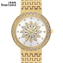 Dreamcarnival 1989 New Quartz Watch for Women Luxury Flower Patten Dial Crystals on Crown Alloy Band IP Rhodium Gold Color A8364(China)
