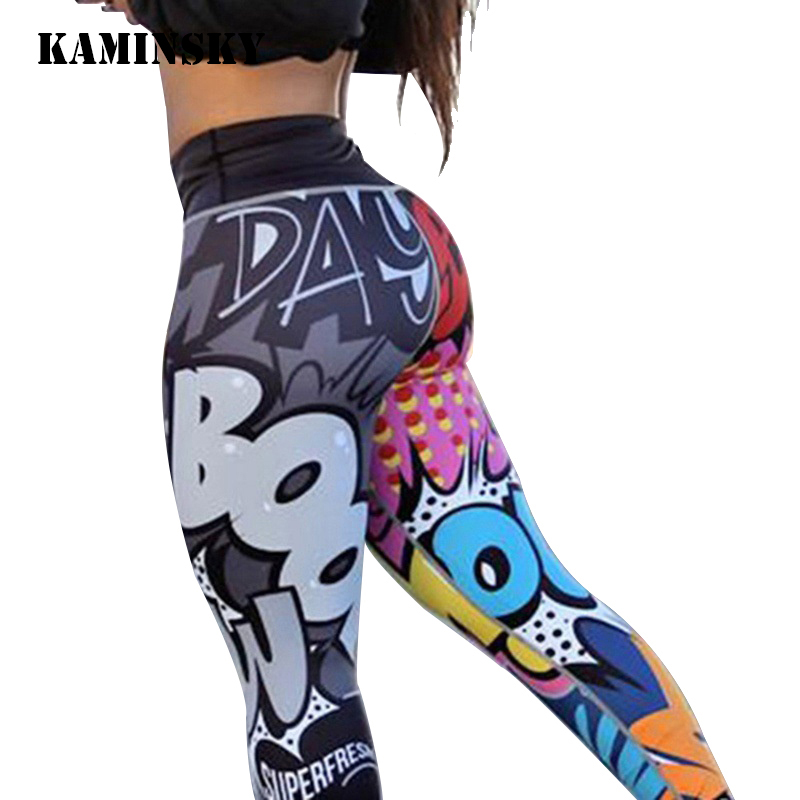 Kaminsky Colourful Digital Printed   Leggings   Cute Cartoon Anime Women Pants High Waist Push Up Mujer Workout Fitness   Leggings
