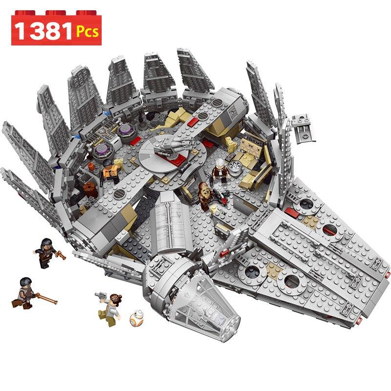 1381 Pcs Millennium Falcon Figures Model Building Blocks Harmless Bricks Enlighten Compatible LegoINGLYS Star Wars 10179 Toy