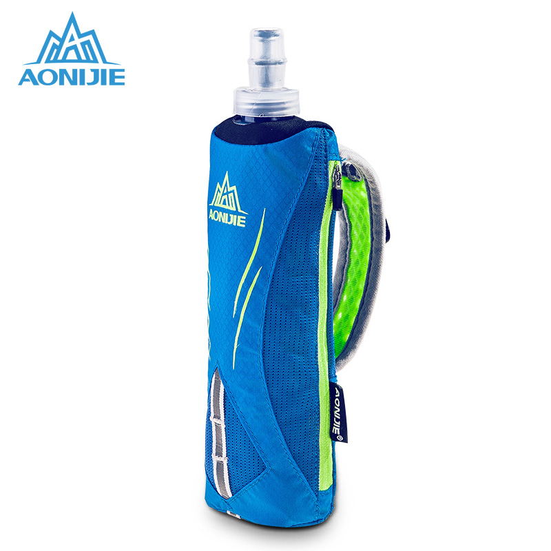 AONIJIE 500ml Bottle With Hold Bag For Running Marathon Outdoor Sports Hand Hold Water Bag 20.5x6.5cm aonijie foldable soft water bag outdoor sports kettle water storage bottle running hiking travel flask bottle 250ml 500ml