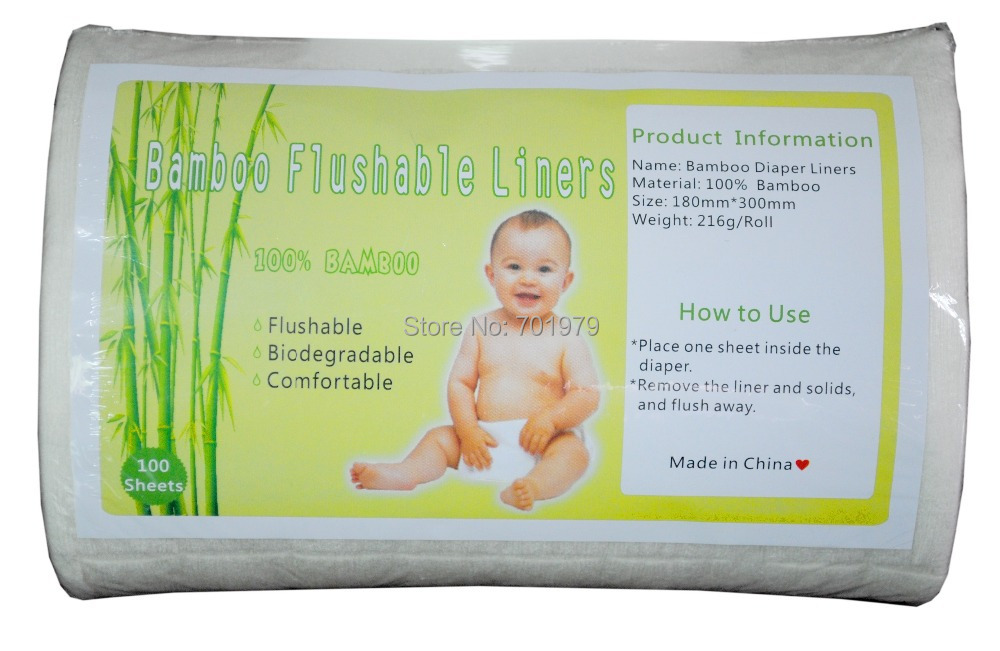 ALVA 100 biodegradable Flushable Bamboo Baby Diaper Liners with Paper Packing