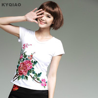 Embroidery T Shirt 2017 Women Summer Bohemian Hippie O Neck Short Sleeve Rose Red White Black