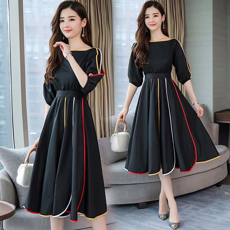 S-XL Korean Style Women Dress A-line Office Lady Sweet Temperament High Quality Spring Solid Cotton Dress FR09