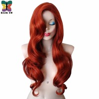 HAIR SW Long Wavy Synthetic Rabbit Cosplay Wig Copper Red With Big Swap Bangs Drag Queen Heat Resistant Fiber Wig For Halloween