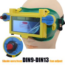 Солнечная Авто Дарк затенение DIN9-DIN13 сварщика глаза маска шлем глаза таращить глаза/сварщика очки для Arc TIG MMA сварки миг машина