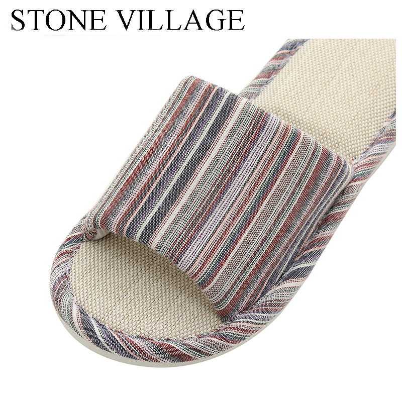 STONE VILLAGE large size 36-45 Summer Striped Mute Flax Women Slippers shoes  Indoor Floor Home Slippers Shoes Drop Shipping 3