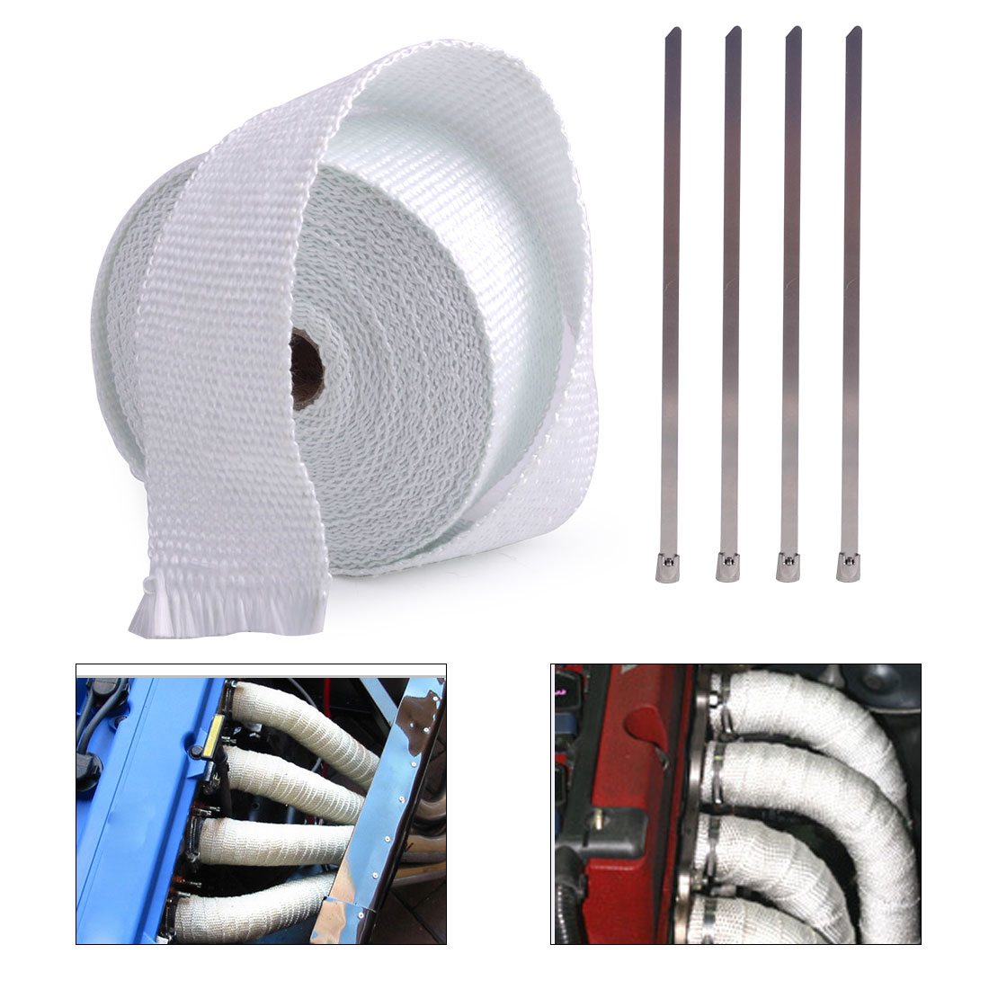beler 10M Exhaust Pipe Manifold Header Heat Wrap Tape Roll With 4 Metal Ties Cable Zip for Harley Bobber Chopper Dirt Bike Honda