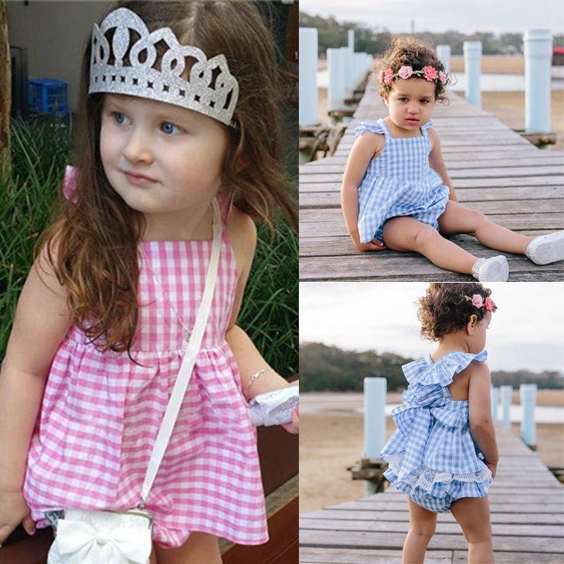 summer casual 2pcs/set 1x Tops Dress+Briefs Princess Baby Girls Clothes Plaids Ruffles Tops Dress+Briefs Outfits Set Sunsuit
