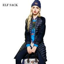 ELF saco Sólida Mulheres Patchwork Inverno Mais Novo Gola Cintura Fina Para Baixo Casaco Feminino Longo Outerwear Para Baixo Casacos Mulheres Topos