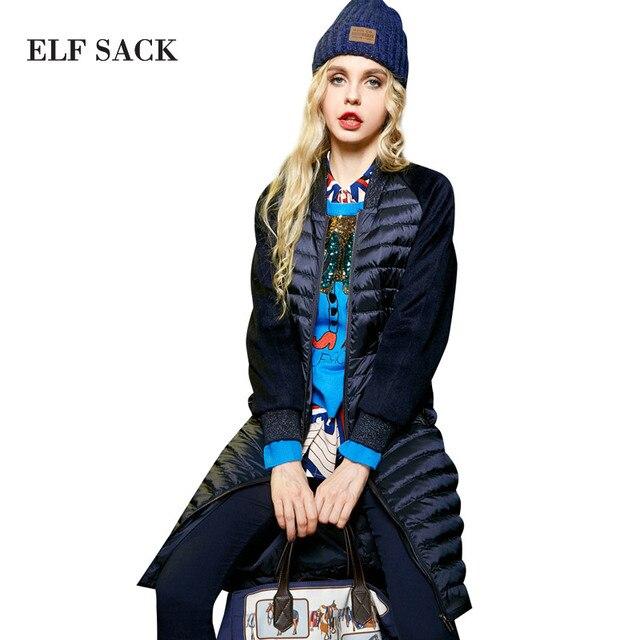 ELF SACK Solid Women Winter Patchwork Newest Stand Collar Slim Waist Down Coat Female Long Outerwear Down Coats Women Tops