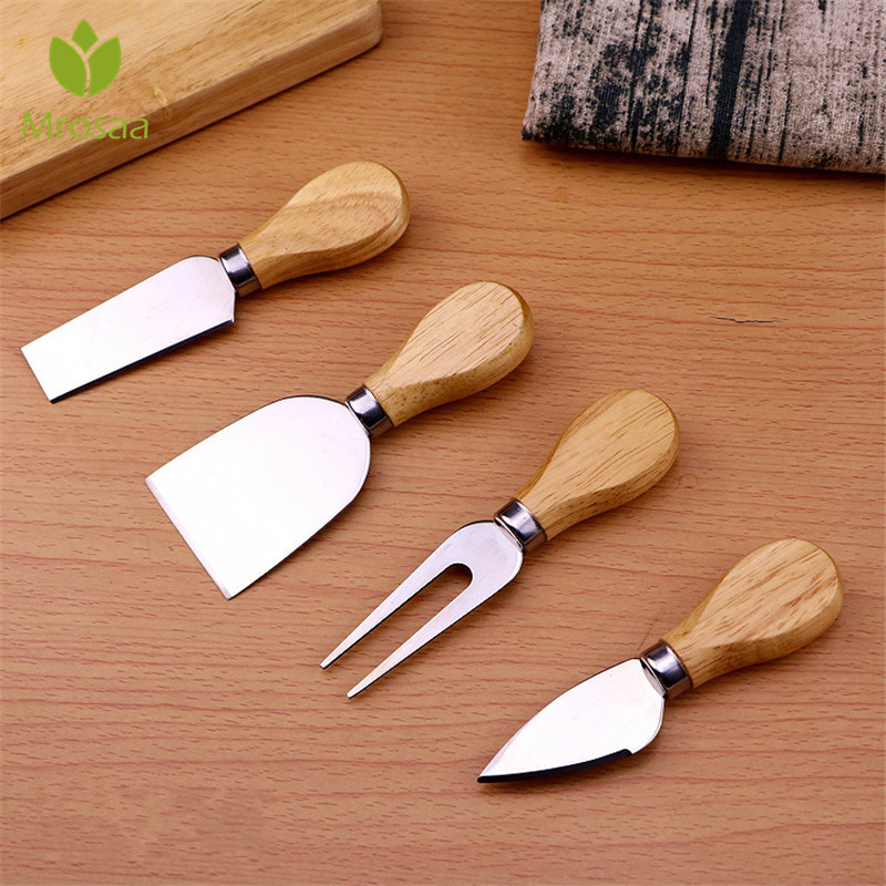 4pcs/set wood Handle sets Bard Set Oa k bamboo <font><b>Cheese</b></font> Shovel Cutter <font><b>Knife</b></font> slicer Kit Kitchen Pizza cutter Useful Cooking Tools image