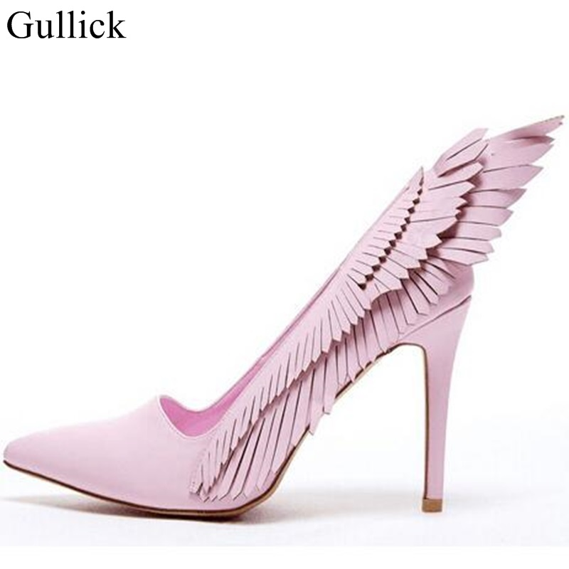 Hot Selling Pink Fringe High Heel Pumps Pointed Toe Tassels Slip-on Women Dress Shoes Fashion Spring Thin Heels Pumps Real Photo newest metal leaves high heel pumps pointed toe slip on women wedding dress shoes 2018 spring autumen bride heels pumps
