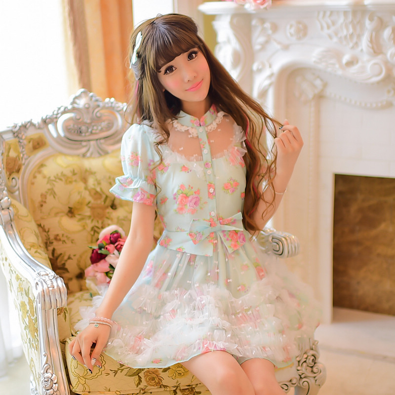 Princess Sweet Lolita Dress Candy Rain In The Summer Of 2016 New Women's Sweet Lace Eugen  Dress Small Summer C22AB5700