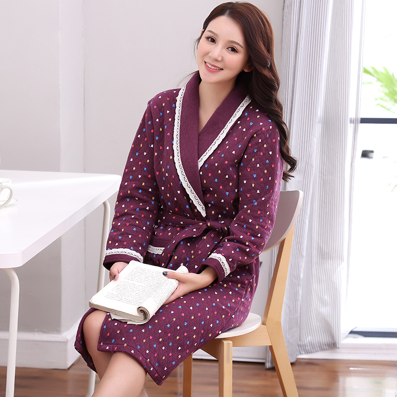 26ff3761cb Detail Feedback Questions about Winter New Cotton Quilted Lady Robe Kimono  Bathrobe Nightgown Thick Warm Long Sleeve Sleepwear Bath Night Gown L XL  XXL XXXL ...