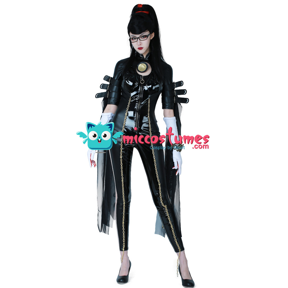 Bayonetta Costume Umbra Witch Cosplay Jumpsuit Sexy Black Leather Outfit