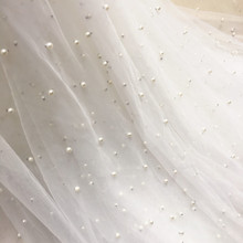Pure white, Off Black, Pink, tulle mesh lace fabric beading net with pearls!1 Yard continuous