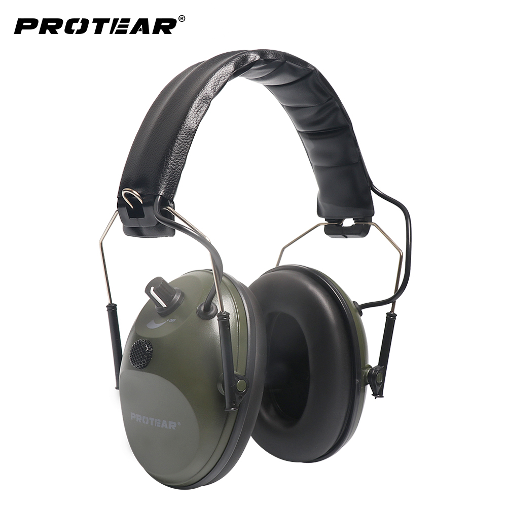 Prptear Single Microphone Electronic Hunting Earmuff Shooting Range ArmyGreen Gear Hearing Protection NRR 22dB
