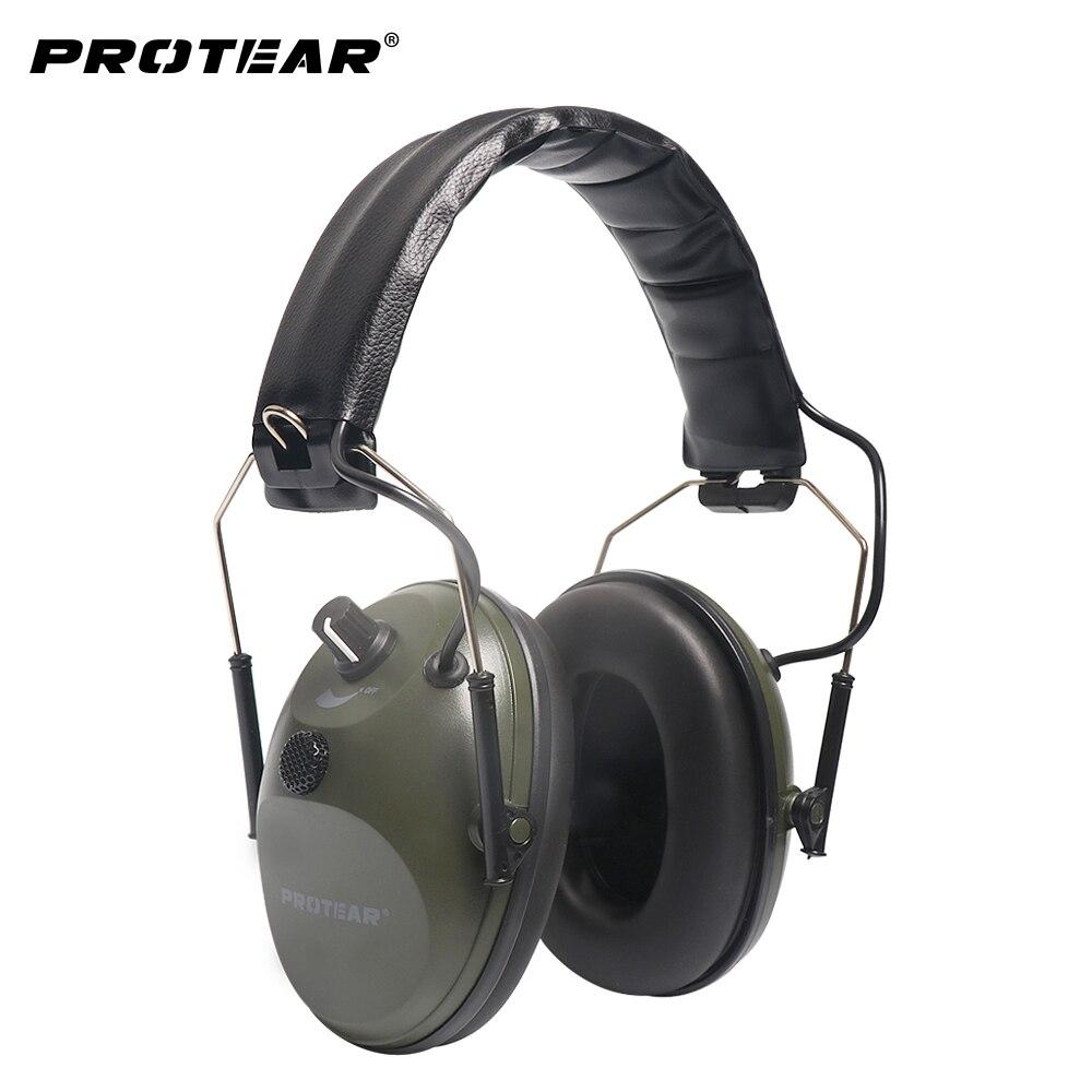 Protear Unique Microphone Électronique Chasse Earmuff Champ de Tir Tactique Chasse Gamme Vitesse Protection Auditive RNR 22dB