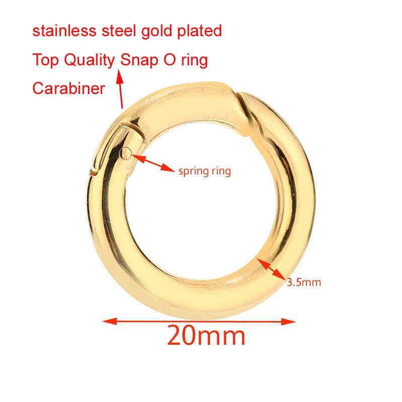 1 pçs o anel fivela de bloqueio mosquetão redondo de aço inoxidável mosquetão primavera snap clipes gancho chaveiro fivela ouro prata