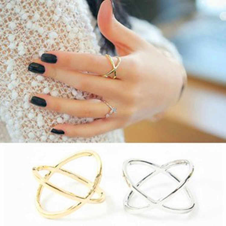Explosive Alloy Ring Actress Three-dimensional Hollow Round Cross Gold And Silver Ring Simple Ring Hundred Matching Accessories