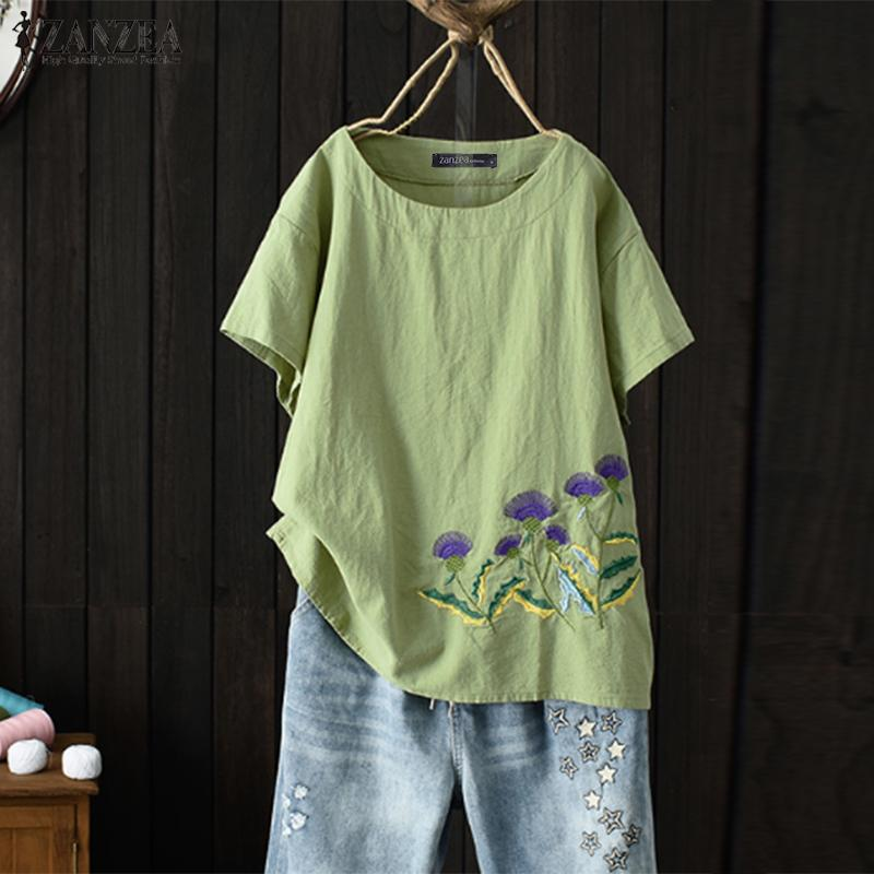 ZANZEA 2019 Summer Embroidery Shirt Women's Blouse Vintage Short Sleeve Blusas Loose Chemise Femininas Casual Tunic Tops Mujer