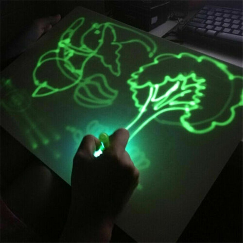 PVC A4 Tablet Drawing In Dark With Light Children Kids Funny Sketchpad Toys Luminous Drawing Board Set Boys Girls Toy