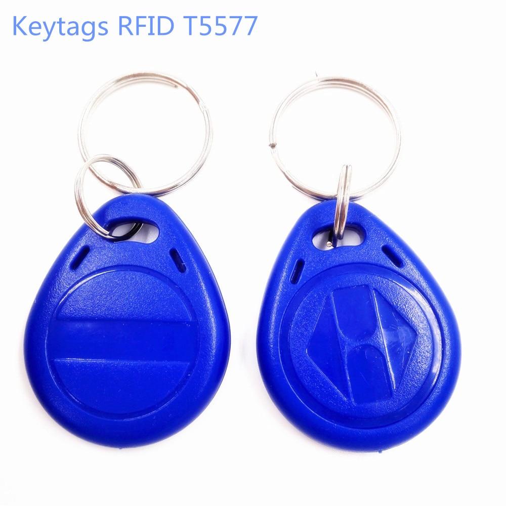 (100pcs/lot) lD Chip RFID T5577 125Khz Writable Keyfobs Key Tags Proximity Smart Card for Access Control
