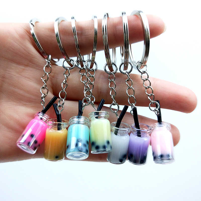 Creative Couples Women Girl Acrylic Cute Keychain Pearl Milk Tea Drink Bottle Keyring Bag Pendant Jewelry Gift Resin Key Chain