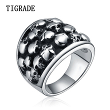 TIGRADE Black Gothic Stainless Steel Ring Men Skull Biker Punk Rings Fashion Hiphop Rock Jewelry Male