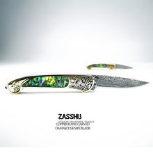 ZASSHU Folding Key Knife High-carbon steel damascus knife handmade forged blade Camping Tactical Survival rescue tool Knife EDC все цены