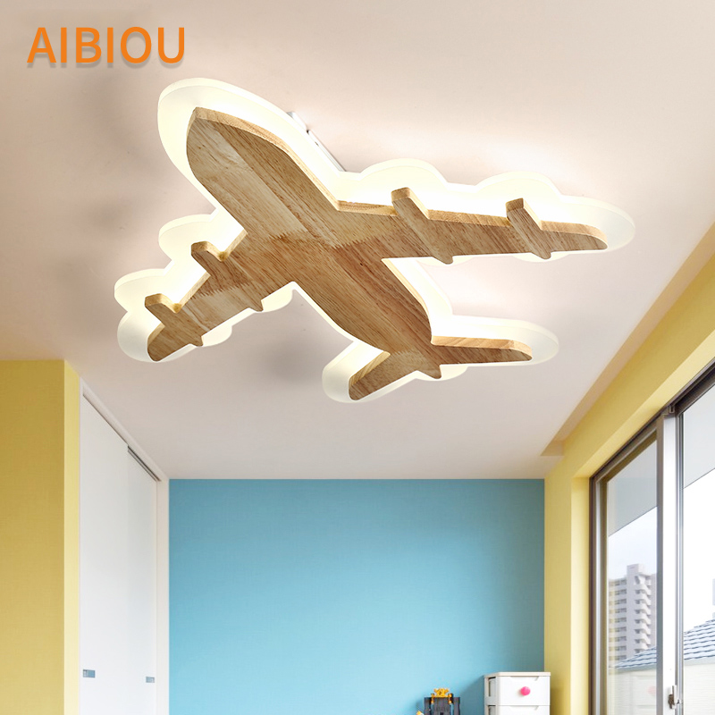 AIBIOU Modern LED Ceiling Lights For Children Room Airplane Shade Surface Mounted Kids Luminaire Wooden Boys Bedroom Lighting