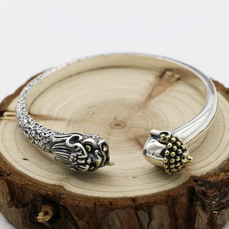 Handmade Silverware Retro Thai Silver Ethnic Style S925 Sterling Silver Fashion Men And Women Open Ended Bangle