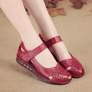Image 4 - GKTINOO letnie nowe ręcznie robione buty damskie w stylu narodowym oryginalne skórzane sandały damskie Hollow miękkie płaskie z sandałami