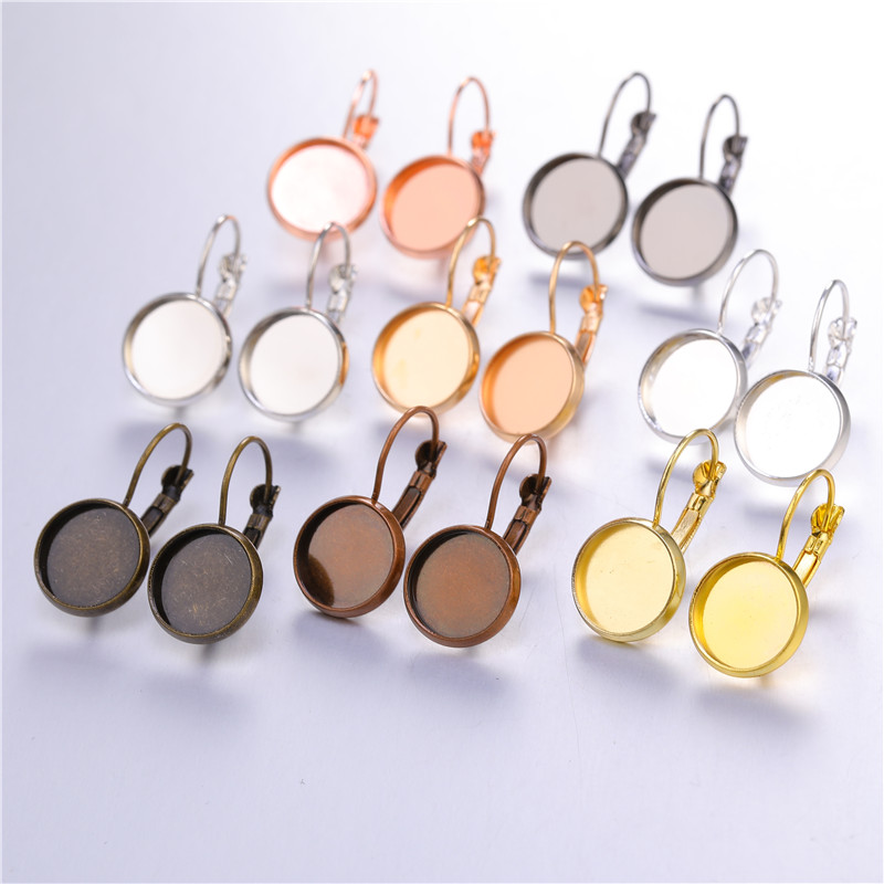 12mm 10pcs Earring Hooks Round Cabochon Cameo Blank Base Settings Fit 12mm Glass Earrings Bezels DIY Jewelry Making Accessories