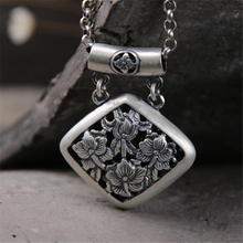 2018 Statement Vintage 999 Sterling Silver Jewelry Necklaces Pendants Carved Hollow Flowers For Women 34*40MM 1