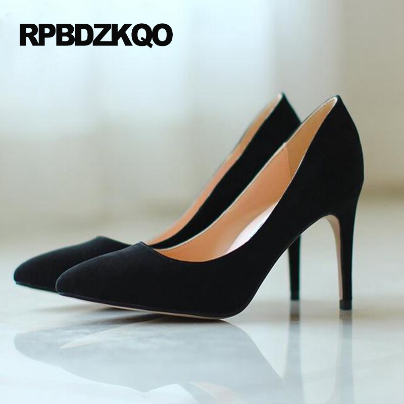 Pointed Toe Pumps Small Size 2017 33 Big Women Court Lavender Suede Thin High Heels Japanese Shoes Black 4 34 Autumn Simple small size high heels sexy pumps 33 4 34 thin abnormal 2017 big 12 44 multi colored leopard shoes women pointed toe evening
