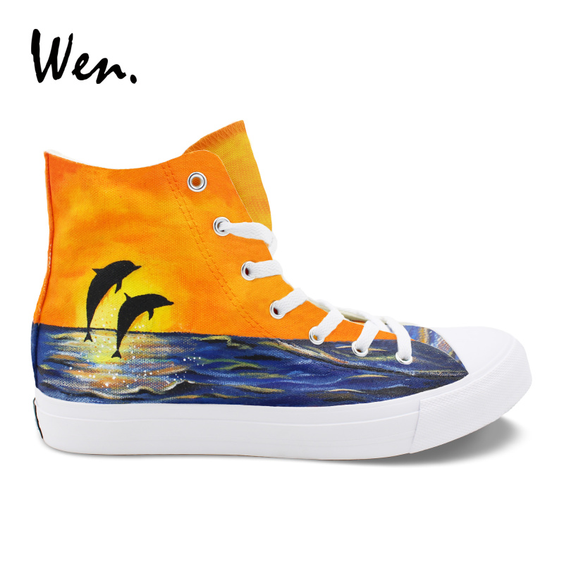 все цены на Wen Hand Painted Original Shoes Design Custom Dolphins Sunset Ocean High Top Canvas Sneakers Woman Man Skateboarding Shoes