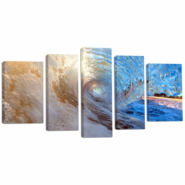 5 Pieces Ocean Wave Wall Art Canvas Painting Waves Artwork Pure For Living
