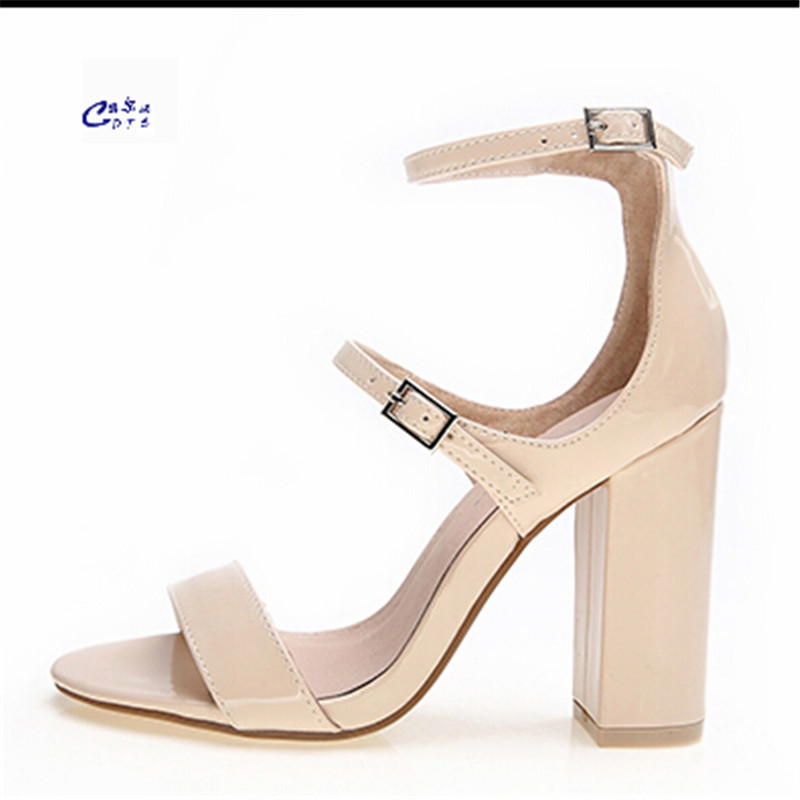 CDTS Summer 10cm ultra high thick heels sandals fashion ol high-heeled Ankle-wrap Nude shoes sexy genuine leather women pumps fashion design women full grain leather pumps summer ankle wrap cool high heels shoes for women closed toe women sandals