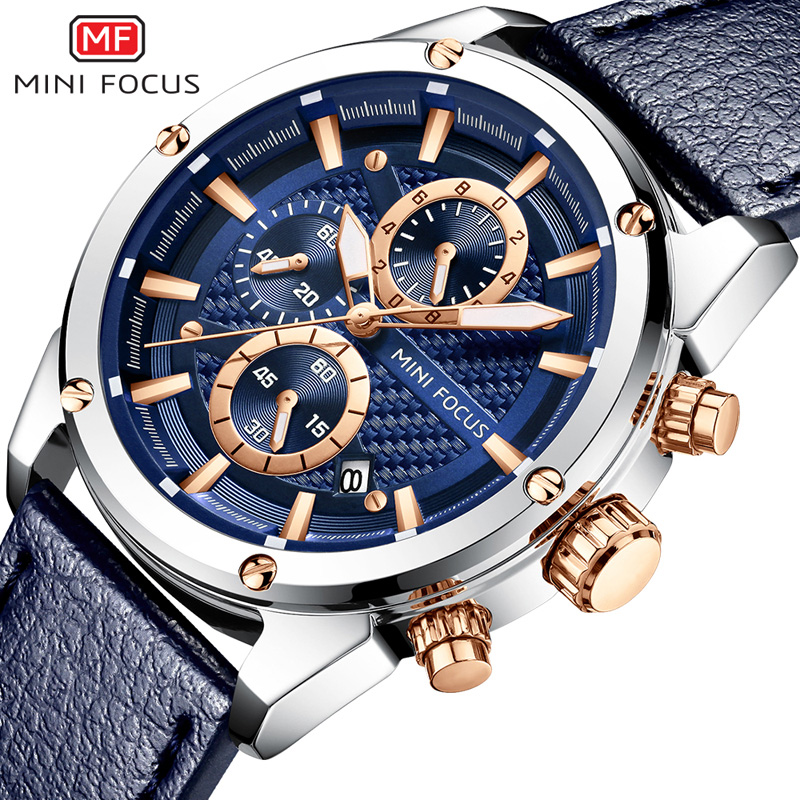 MINIFOCUS Fashion Sport Watch Men Quartz Blue Business Watches Luxury Brand Men's Army Military Leather Wrist Watch Male Clock gift hot crazy selling army leather belt table trend of retro fashion blue big dial quartz watch clock men military sport watch
